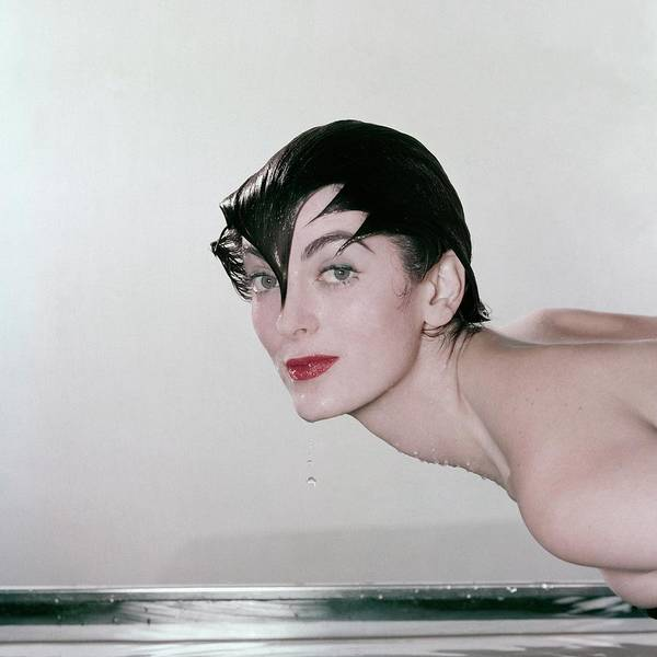 Make Up Photograph - Carmen Dell'orefice Demonstrating Waterproof by John Rawlings
