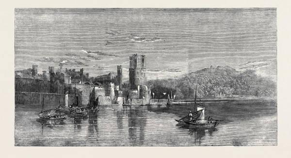 Wall Art - Drawing - Carnarvon Castle North Wales by Richardson, Edward (1810-74), British
