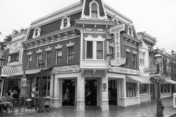 Clothier Photograph - Carnation Cafe Main Street Disneyland Bw by Thomas Woolworth