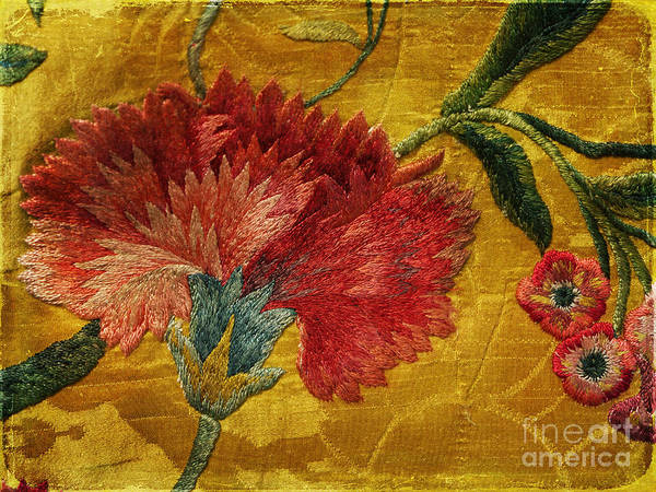 Photograph - Carnation Embroidered On Silk Brocade by Brenda Kean