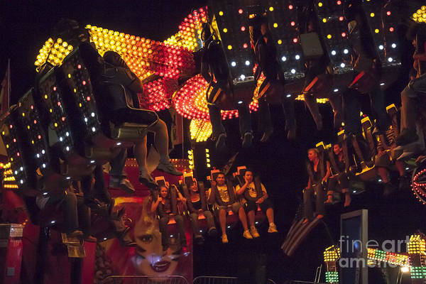 Wall Art - Photograph - Carnival Ride At Night  At The Montgomery County Fair by William Kuta