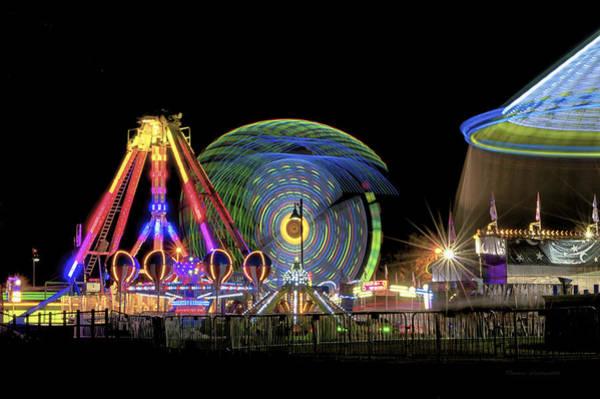 Wall Art - Photograph - Carnival Rides At Night 10 by Thomas Woolworth