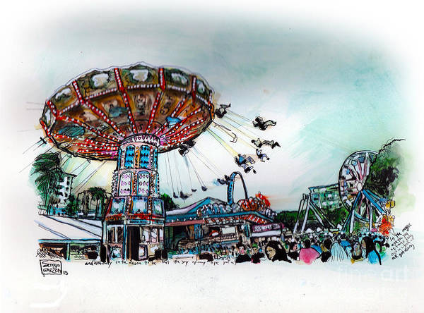 Oahu Drawing - Carnival by Sergio Garzon