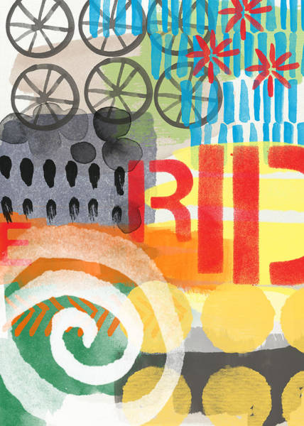 Bicycle Painting - Carousel #6 Ride- Contemporary Abstract Art by Linda Woods