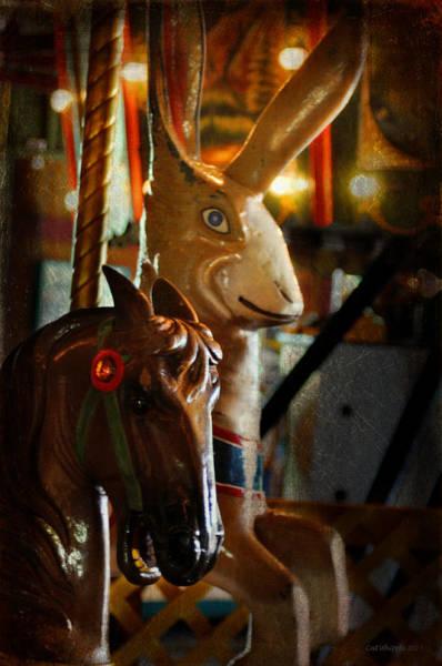 Carousel Digital Art - Carousel Horse And Rabbit by Cat Whipple