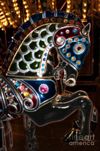 Carousel Digital Art - Carousel Horse Dark Knight by Patty Vicknair