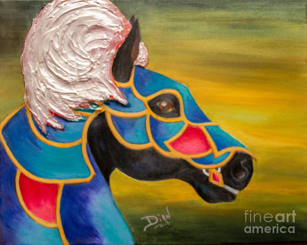 Carousel Mixed Media - Carousel Horse-knightmare by Dian Paura-Chellis