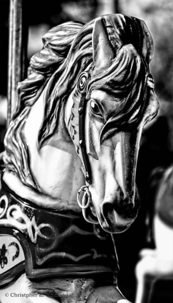 Photograph - Carousel Horse Two - Bw by Christopher Holmes