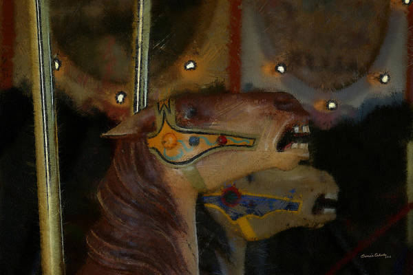 Carousel Digital Art - Carousel Horses Painterly by Ernie Echols