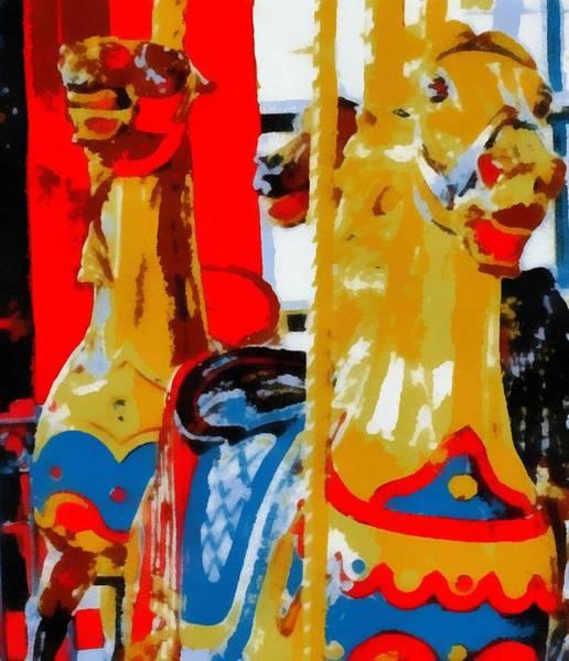 Wall Art - Painting - Carousel Horses Pop Art by Dan Sproul