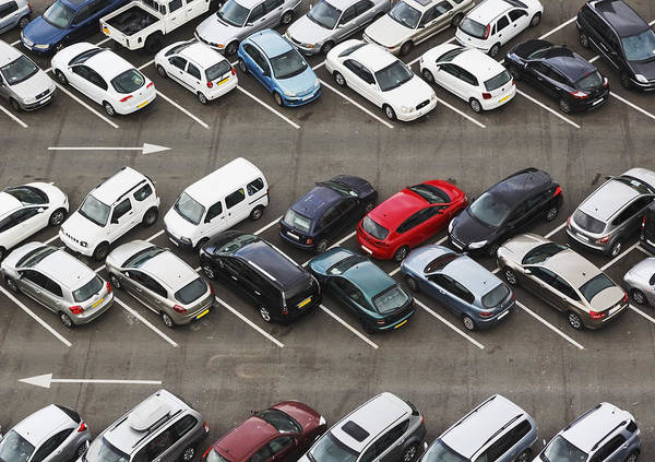 Parking Lot Photograph - Carpark Viewed From Above With Cars by Ken Welsh / Design Pics