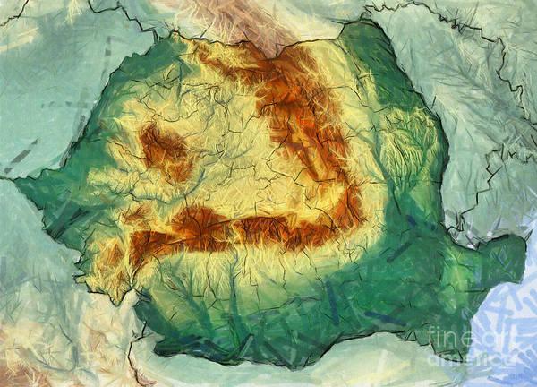 Drawing - Carpathian Mountains - Romanian Map by Daliana Pacuraru