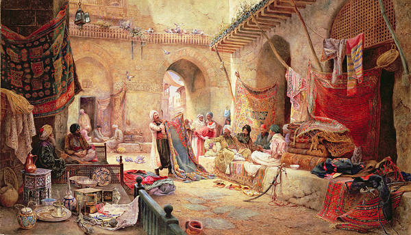 Shopping Painting - Carpet Bazaar, Cairo, 1887 by Charles Robertson