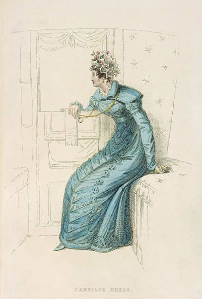Georgian Drawing - Carriage Dress, Fashion Plate by English School