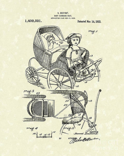 Drawing - Carriage Seat 1922 Patent Art by Prior Art Design