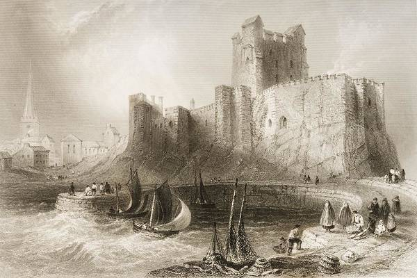 Pier Drawing - Carrickfergus Castle, County Antrim, Northern Ireland, From Scenery And Antiquities Of Ireland by William Henry Bartlett