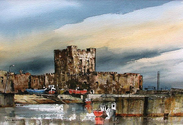 Painting - Carrickfergus Castle  County Antrim by Val Byrne