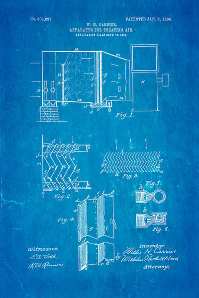 Breeze Photograph - Carrier Air Conditioning Patent Art 1906 Blueprint by Ian Monk