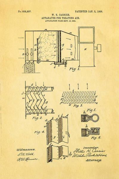 Fitter Photograph - Carrier Air Conditioning Patent Art 1906 by Ian Monk