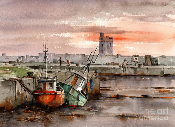 Painting - Carrigaholt Castle In Clare by Val Byrne