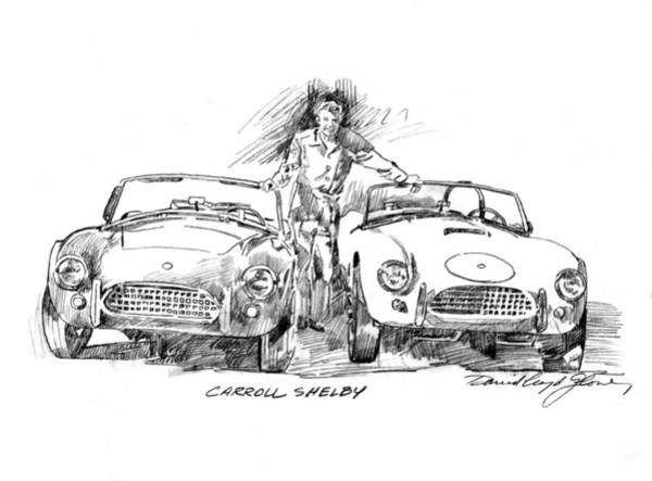 Wall Art - Drawing - Carroll Shelby And The Cobras by David Lloyd Glover