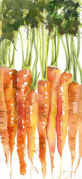Food Wall Art - Painting - Carrot Bunch Art Blenda Studio by Blenda Studio