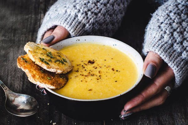 Carrot Pumpkin Cream Soup With Garlic Bread Art Print by Arx0nt