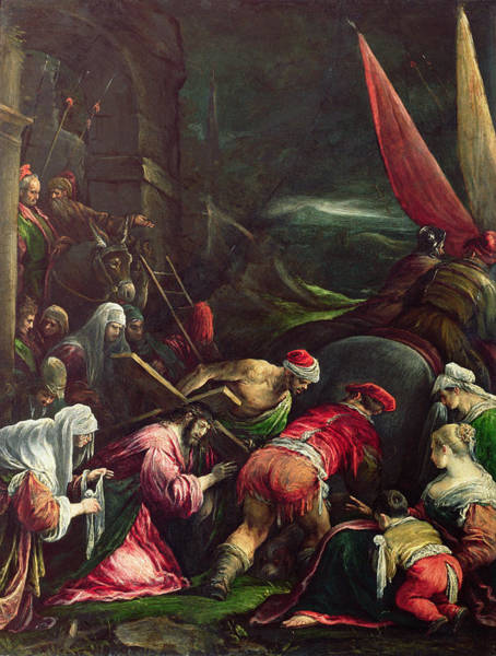 Church Of The Cross Painting - Carrying The Cross, 1592 by Gerolamo Bassano