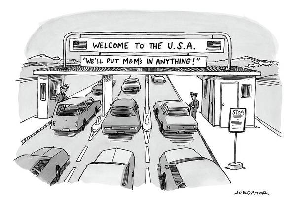 Highway Drawing - Welcome To The Usa by Joe Dator