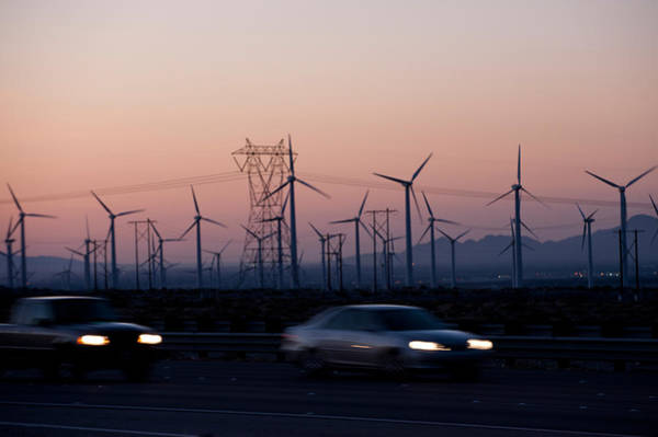 Riverside California Photograph - Cars Moving On Road With Wind Turbines by Panoramic Images