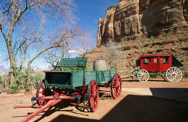 Toughness Photograph - Cart And Stagecoach Beneath Cliffs by David C Tomlinson
