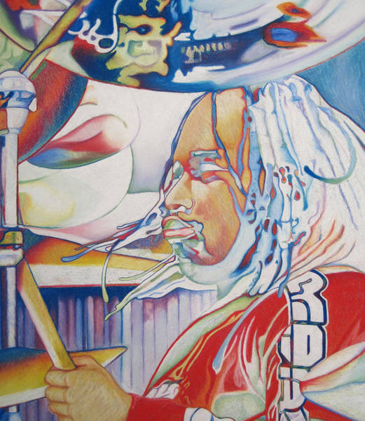 Wall Art - Drawing - Carter Beauford Colorful Full Band Series by Joshua Morton