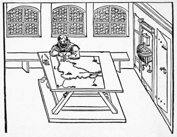 German Renaissance Drawing - Cartographer, 1598 by Granger