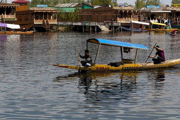Dal Lake Photograph - Cartoon - 2 Men Paddling A Shikhara In The Water Of The Dal Lake In Srinagar by Ashish Agarwal