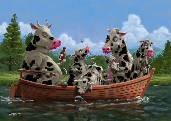 Painting - Cartoon Cow Family On Boating Holiday by Martin Davey