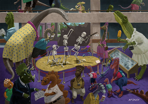 Painting - Cartoon Dinosaur Museum by Martin Davey