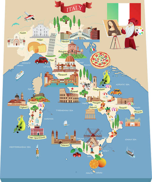 Sardinia Digital Art - Cartoon Map Of Italy by Drmakkoy