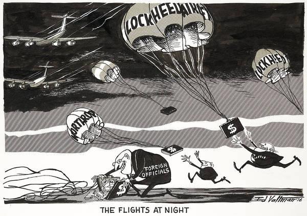 Drawing - Night Flights, 1976 by Edmund Valtman