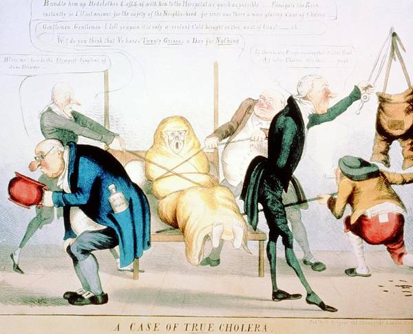 Wall Art - Photograph - Cartoon Of Doctors Visiting Patient With Cholera by National Library Of Medicine/science Photo Library