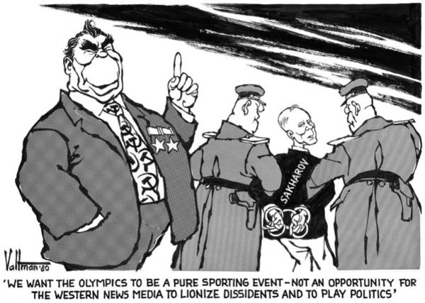 Drawing - Cartoon Olympic Boycott by Edmund Valtman