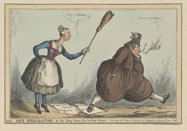 Skinny Drawing - Cartoon On The Separation Between The Netherlands by William Heath And Thomas Mclean