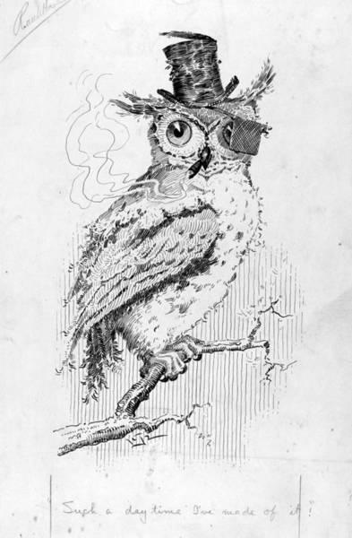 Wall Art - Drawing - Cartoon Owl, 1911 by Granger