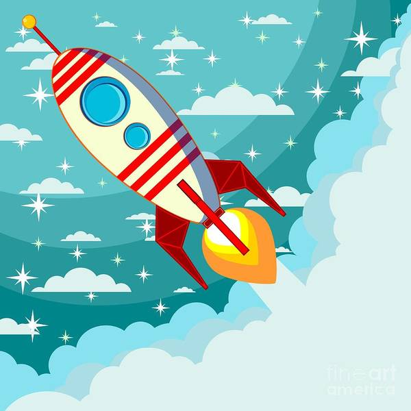 Wall Art - Digital Art - Cartoon Rocket Taking Off Against The by Alekseiveprev