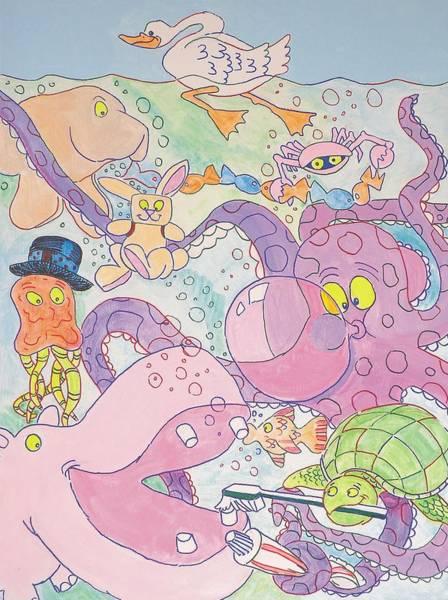 Cartoon Sea Creatures Art Print