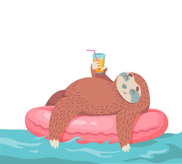 Doodle Digital Art - Cartoon Vector Sloth by Dromp