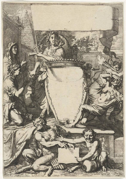 Allegorical Figure Drawing - Cartouche Surrounded By Allegorical Figures by Quint Lox