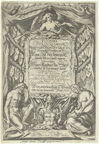 Allegorical Figure Drawing - Cartouche With Title And The Allegorical Figures Father by Willem Jacobsz. Delff And Nicolaes De Clerck