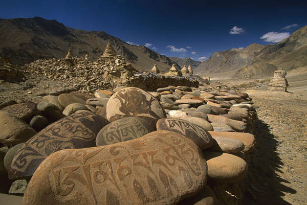 Photograph - Carved Buddhist Mani Stones Zangla by Colin Monteath