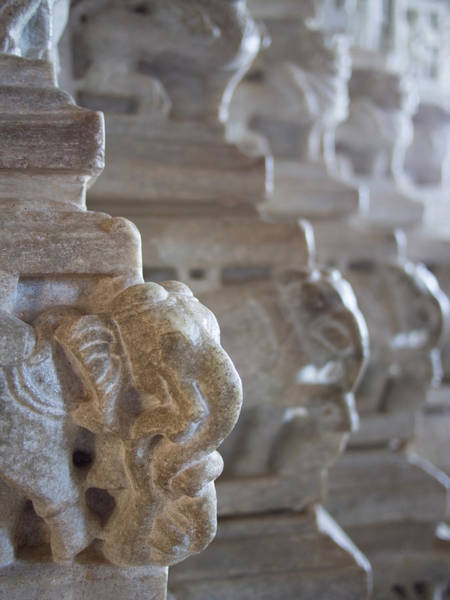 Animal Place Wall Art - Photograph - Carved Elephant Sculpture On Columns by David H. Wells