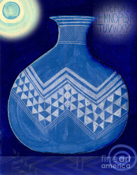 Wall Art - Mixed Media - Carved Vase Under The Moon by Elaine Jackson